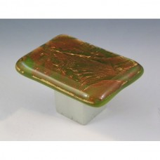 AutumnFrost Rectangular Cabinet Knob (RAF3) by Grace White Glass
