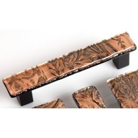 BronzeFrost Rectangular Drawer Pull (RBF4) by Grace White Glass