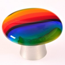 Rainbow  Round Cabinet Knob (RBR) by Grace White Glass