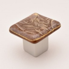 GoldFrost Square Cabinet Knob (RGF1) by Grace White Glass