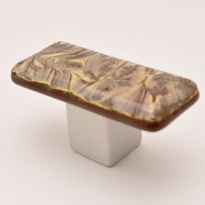 GoldFrost Rectangular Cabinet Knob (RGF2) by Grace White Glass