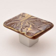 GoldFrost Rectangular Cabinet Knob (RGF3) by Grace White Glass
