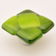 Spritzer Squares Organic Cabinet Knob (SS) by Grace White Glass