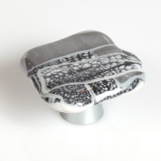 Metallic Melts Organic Cabinet Knob (WMM) by Grace White Glass