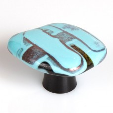 Turquoise Melts Organic Cabinet Knob (WTM) by Grace White Glass