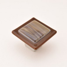 Wildwing Square Cabinet Knob (WW1) by Grace White Glass