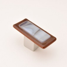 Wildwing Rectangular Cabinet Knob (WW2) by Grace White Glass