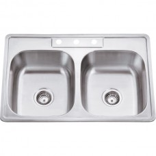 Drop In Stainless Steel Sink - Satin Stainless Steel - 33 x 22 x 9 (910-1)