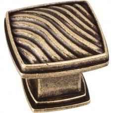 "Encada Waved Square Cabinet Knob (1-3/16"") - Lightly Distressed Antique Brass (123AEM) by Jeffrey Alexander"