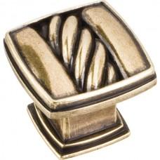 "Encada Cable Square Cabinet Knob (1-3/16"") - Lightly Distressed Antique Brass (125AEM) by Jeffrey Alexander"