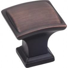 """Annadale Square Pillow Cabinet Knob (1-1/4"""") - Brushed Oil Rubbed Bronze (435DBAC) by Jeffrey Alexander"""