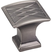 "Aberdeen Square Lined Pillow Cabinet Knob (1-1/4"") - Brushed Pewter (535BNBDL) by Jeffrey Alexander"