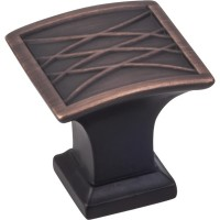 "Aberdeen Square Lined Pillow Cabinet Knob (1-1/4"") - Brushed Oil Rubbed Bronze (535DBAC) by Jeffrey Alexander"