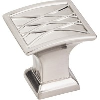 "Aberdeen Square Lined Pillow Cabinet Knob (1-1/4"") - Satin Nickel (535SN) by Jeffrey Alexander"