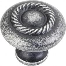 "Lenoir Rope Cabinet Knob (1-1/4"") - Distressed Antique Silver (Z117-SIM) by Jeffrey Alexander"