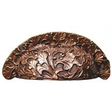 "Florid Leaves Bin Pull (3"" cc) - Antique Copper (NHBP-802-AC) by Notting Hill"