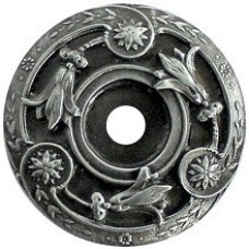 Jeweled Lily Knob Backplate - Antique Pewter (NHE-561-AP) by Notting Hill