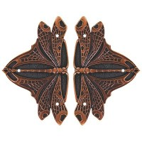 Dragonfly (sold in pairs) Hinge Plates - Antique Copper (NHH-907-AC) by Notting Hill
