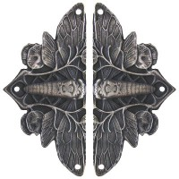 Cicada on Leaves (sold in pairs) Hinge Plates - Antique Pewter (NHH-920-AP) by Notting Hill