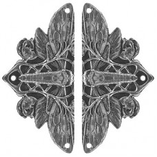 Cicada on Leaves (sold in pairs) Hinge Plates - Brite Nickel (NHH-920-BN) by Notting Hill