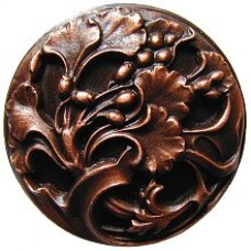 Florid Leaves Cabinet Knob - Antique Copper (NHK-102-AC) by Notting Hill