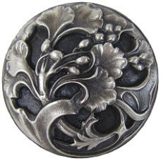 Florid Leaves Cabinet Knob - Antique Pewter (NHK-102-AP) by Notting Hill