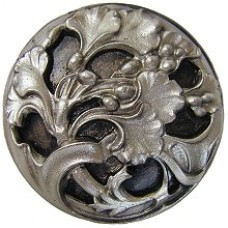 Florid Leaves Cabinet Knob - Satin Nickel (NHK-102-SN) by Notting Hill