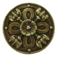 Celtic Shield Cabinet Knob - Antique Brass (NHK-103-AB) by Notting Hill