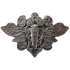 Cicada on Leaves Cabinet Knob - Brite Nickel (NHK-120-BN) by Notting Hill