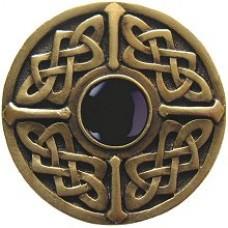 Celtic Jewel/Onyx Cabinet Knob - Antique Brass (NHK-158-AB-O) by Notting Hill