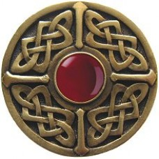 Celtic Jewel/Red Carnelian Cabinet Knob - Antique Brass (NHK-158-AB-RC) by Notting Hill