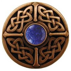 Celtic Jewel/Blue Sodalite Cabinet Knob - Antique Copper (NHK-158-AC-BS) by Notting Hill