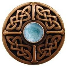 Celtic Jewel/Green Aventurine Cabinet Knob - Antique Copper (NHK-158-AC-GA) by Notting Hill