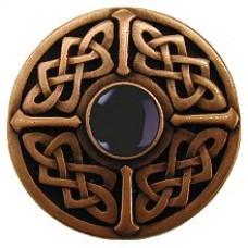 Celtic Jewel/Onyx Cabinet Knob - Antique Copper (NHK-158-AC-O) by Notting Hill