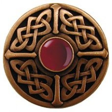Celtic Jewel/Red Carnelian Cabinet Knob - Antique Copper (NHK-158-AC-RC) by Notting Hill