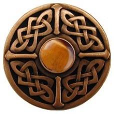 Celtic Jewel/Tiger Eye Cabinet Knob - Antique Copper (NHK-158-AC-TE) by Notting Hill