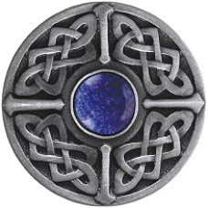Celtic Jewel/Blue Sodalite Cabinet Knob - Antique Pewter (NHK-158-AP-BS) by Notting Hill