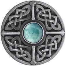 Celtic Jewel/Green Aventurine Cabinet Knob - Antique Pewter (NHK-158-AP-GA) by Notting Hill