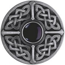 Celtic Jewel/Onyx Cabinet Knob - Antique Pewter (NHK-158-AP-O) by Notting Hill