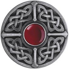 Celtic Jewel/Red Carnelian Cabinet Knob - Antique Pewter (NHK-158-AP-RC) by Notting Hill