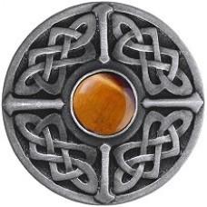 Celtic Jewel/Tiger Eye Cabinet Knob - Antique Pewter (NHK-158-AP-TE) by Notting Hill