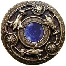 Jeweled Lily/Blue Sodalite Cabinet Knob - Antique Brass (NHK-161-AB-BS) by Notting Hill