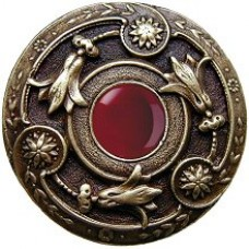 Jeweled Lily/Red Carnelian Cabinet Knob - Antique Brass (NHK-161-AB-RC) by Notting Hill