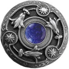 Jeweled Lily/Blue Sodalite Cabinet Knob - Antique Pewter (NHK-161-AP-BS) by Notting Hill
