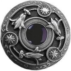 Jeweled Lily/Onyx Cabinet Knob - Antique Pewter (NHK-161-AP-O) by Notting Hill