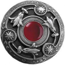 Jeweled Lily/Red Carnelian Cabinet Knob - Antique Pewter (NHK-161-AP-RC) by Notting Hill