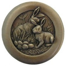 Rabbits Cabinet Knob - Antique Brass (NHK-166-AB) by Notting Hill