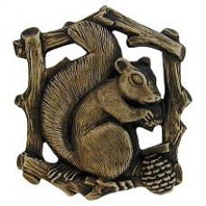 Grey Squirrel (Left side/faces right) Cabinet Knob - Antique Brass (NHK-177-AB-L) by Notting Hill
