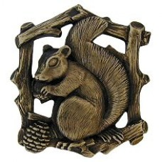 Grey Squirrel (Right side/faces left) Cabinet Knob - Antique Brass (NHK-177-AB-R) by Notting Hill