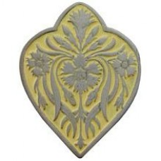 Dianthus/Saffron Cabinet Knob - Antique Pewter/Saffron (yellow) (NHK-178-AP-B) by Notting Hill